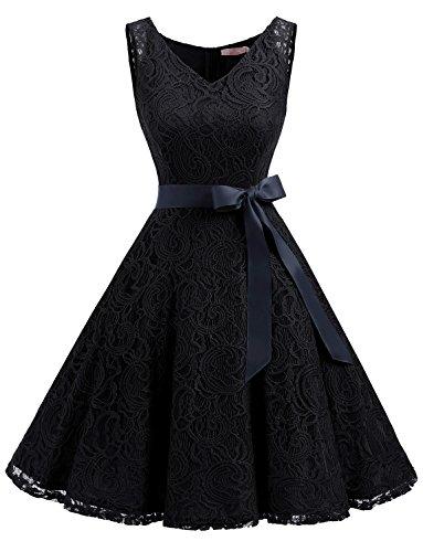 Spitzenkleid Festliches aus Ohne Schwarz Brautjungfernkleid Kleid Cocktailkleid Arm Knielang Spitzen Dressystar Wn4Y1gqW
