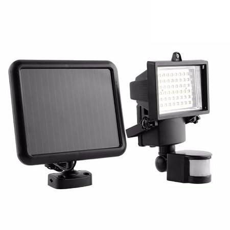 Express Trading - Reflector con panel solar y sensor de movimiento PIR para exterior (60 luces LED, color blanco): Amazon.es: Jardín
