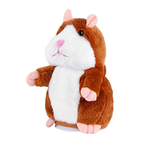 Stuffed Animal Mimicry Talking Mouse Hamster,Recordable Interesting Plush Toys Doll Baby Kids Birthday Gift Xmas Gift(Light Brown)