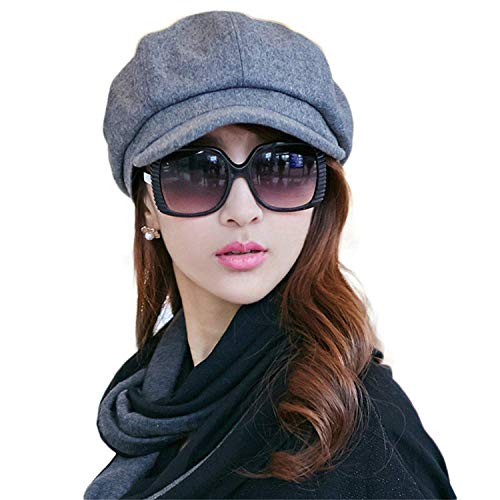 Ambysun Ladies Newsboy Cabbie Beret Cap Bakerboy Visor Peaked Winter Ivy Flat Hat Women (Dark Grey)