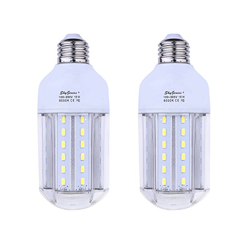 15W Daylight LED Corn Light Bulb 100W Incandescent Replacement - E26 Socket 1500Lm Bright 6500K,for Home Lighting Garage Kitchen Bathroom Porch Bedroom Basement Work Shop Outdoor Pole Lamp(2 Pack)