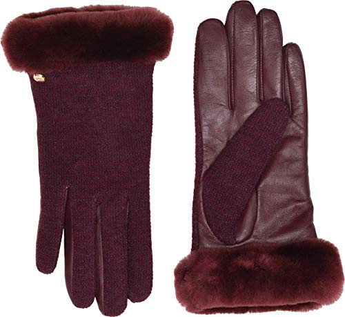 - UGG Women's Short Italian Wool Blend Tech Gloves with Long Pile Sheepskin Trim Port SM