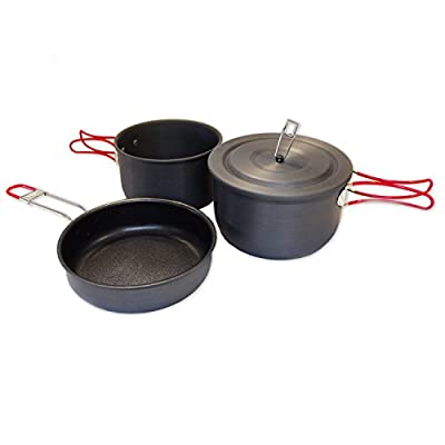 Alpine Mountain Gear Hard Anodized Camping Cook Set, Black