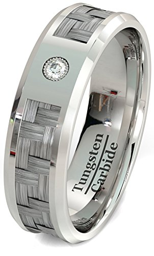 Mens Wedding Band Tungsten Ring Carbon Fiber Inlay Cubic Zircon Tungsten Carbide 8mm Comfort Fit (8)