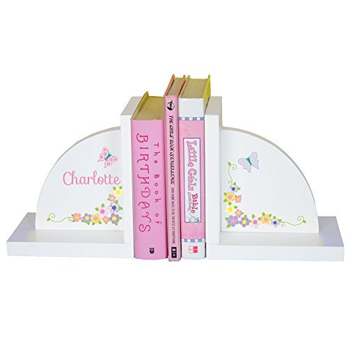 MyBambino Girl's Personalized Butterfly & Flower Bookends Pink & Gray by MyBambino