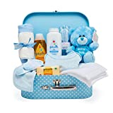 Newborn Baby Gift Set – Keepsake Box in Blue with Baby Clothes, Teddy Bear and Gifts for a New Baby Boy (Color: BLUE, Tamaño: Single)