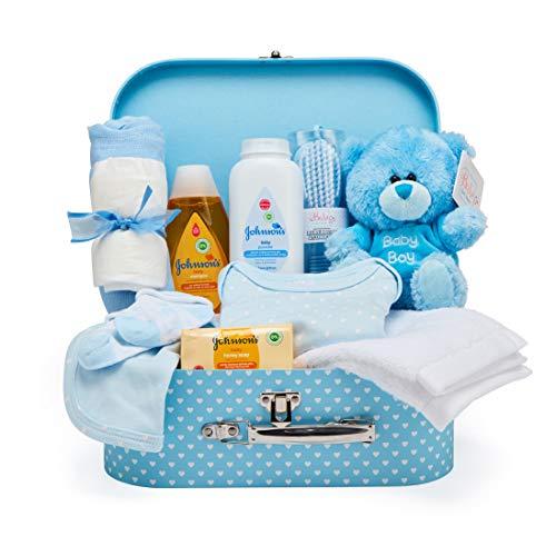 Comprar Baby Box Shop - Cesta regalo bebé niño para baby shower con todo lo esencial para bebes recién nacidos con osito de peluche y caja de recuerdos azul