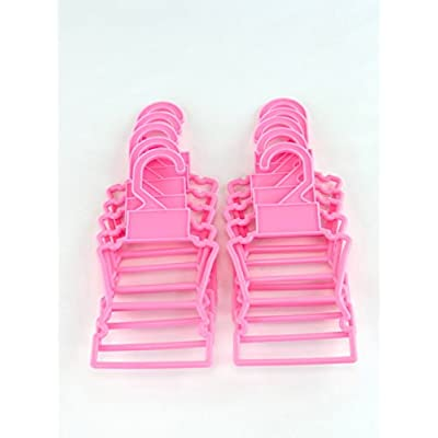 Pink Display Hangers Pack of 10 fits 14 Inch Doll Clothing: Toys & Games