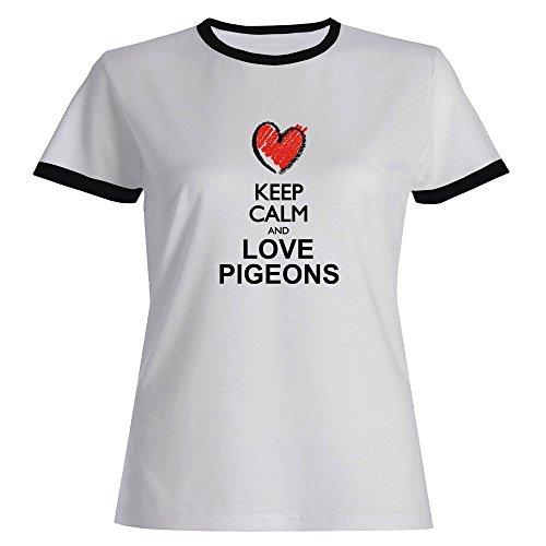 Idakoos Keep Calm and Love Pigeons Chalk Style - Animals - Ringer Women T-Shirt