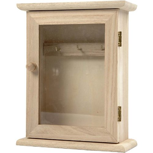 Creativ 1-Piece Wooden Key Cabinet with Glass Panel Door Metal Key Hooks 57533