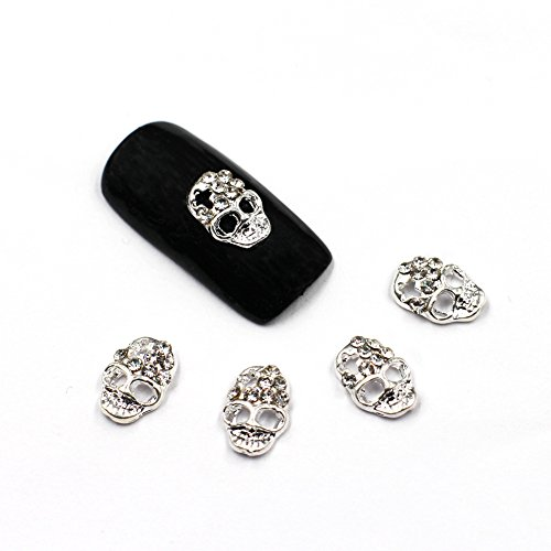 MEILIND Nail 3D DIY Rhinestone Cool Punk Silver Skull Alloy Metal Nail Art Decoration Tips 10Pcs]()