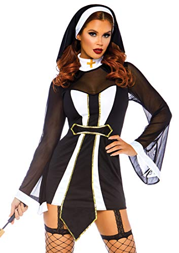 Leg Avenue Womens Twisted Sister Sexy Nun Costume, Black/White, SML/MED