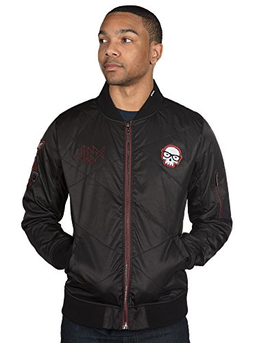 JINX Men's Bomber Zip-Up Jacket with Gamer's Patches (Black, X-Large)
