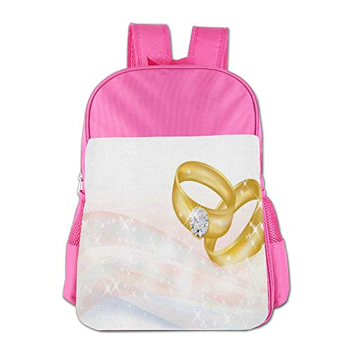 Haixia Children Boy's&Girl's Backpack Wedding Wedding Rings On Abstract Backdrop Romance Marriage Engagement Print Decorative Pale Pink Baby Blue Gold by Haixia
