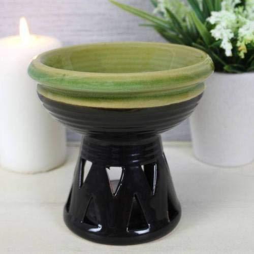 Grande Profundo Negro y verde del taz/ón quemador de aceite cera de vela de tarta c/álido Melt
