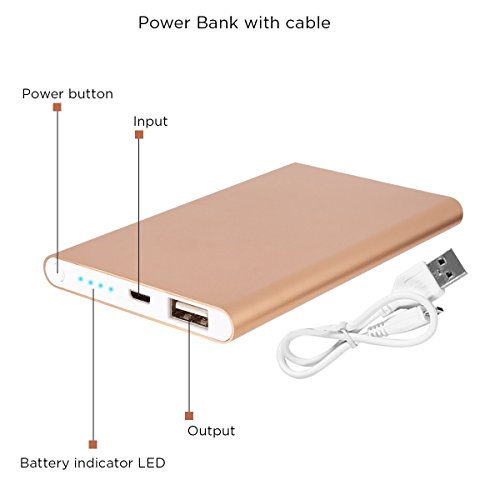 Quality Power Bank 4000mAH High Capacity Ultra Compact Portable Charger External Battery Power Bank for Phones Tablets iPods- Gold