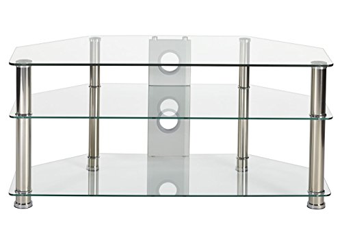 Chrome Wide Tv Stand (MMT Furniture Designs Clear Glass TV Stand 1050Mm Wide Chrome Silver Leg For 32 Inch To 50 Inch LCD LED Smart TV Screens)