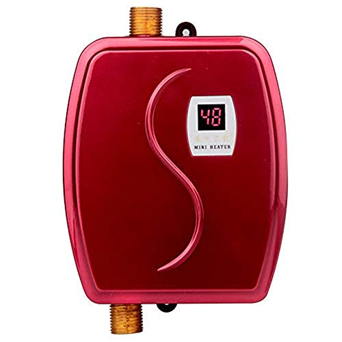 Electric Tankless Water Heater,110V 3000W Mini Instant Thermostatic Hot Water Heater System with 3 Seconds Hot Water System,Leakage Protection and LCD Digital Display (Red)