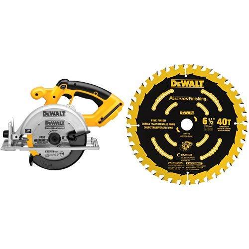 DEWALT DC390B 6-1/2-Inch 18-Volt Cordless Circular Saw (Tool Only) with DEWALT DW9196 6-1/2-Inch 40T Cutting Precision Finishing Saw Blade
