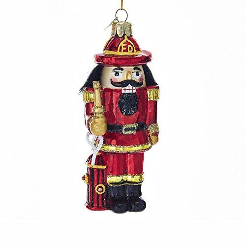 Kurt S. Adler 5-Inch Noble Gems Glass Fireman Nutcracker Ornament