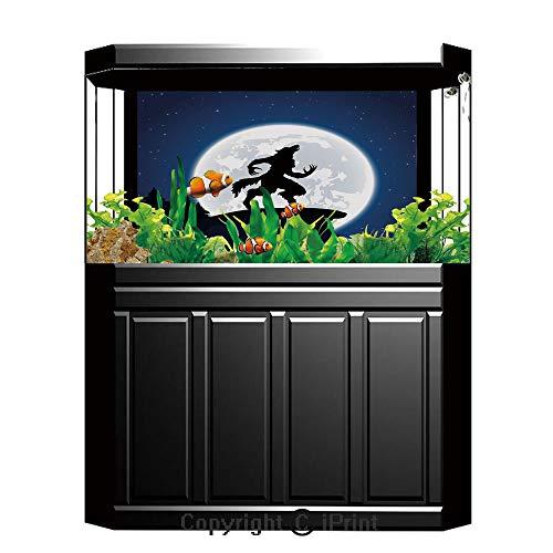Blue Wallpaper Sticker Background Decoration,Wolf,Full Moon Night Sky Growling Werewolf Mythical Creature in Woods Halloween,Dark Blue Black White,Artistic Portrait Photo Studio Props Video Drape Wall -