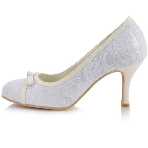 ElegantPark Bridal Shoes Pumps Lace High White Bow Womens Wedding Heel rp8w0rq