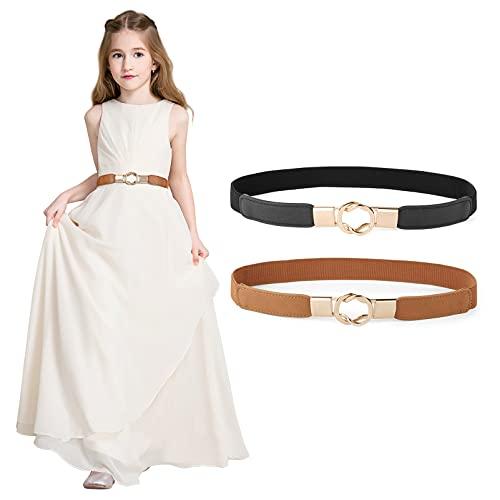 "2 Pack Kids Skinny for Dresses Vintage Elastic Girls Waist Belt with Easy Buckle, suit Waist Size: 20""-24"", A-Black+Brown"