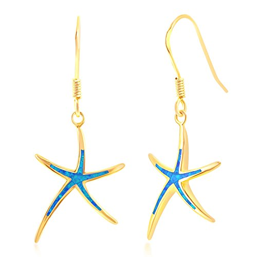 Sterling Silver Gold Tone Created Blue Opal Starfish Dangling Earrings ()