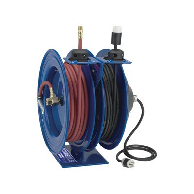 Coxreels Como Air Hose/Electric Cord Reel with Fluorescent Angle Light and Tool Tap Plug, Model# C-L350-5016-D2