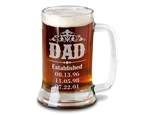 Dad Beer Mug Personalized from Son Daughter with Birth Dates for Fathers Day Daddy Beer Stein Engraved Husband Gift 1st Father's Day Mens Gift