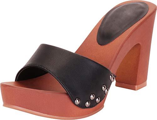 Cambridge Select Women's Retro Open Toe Single Band Studded Clog Slip-On Chunky Platform High Heel Sandal,6 B(M) US,Black PU