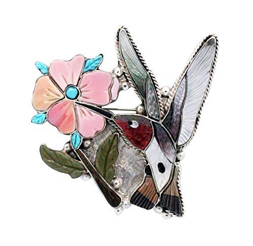 Shirley Benn, Pin, Pendant, Hummingbird, Shell, Inlay, Zuni Handmade, 2.5