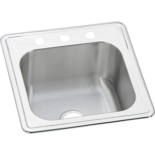 Elkay ESE2020100 0-Hole Gourmet 20-Inch x 20-Inch Single Basin Drop-In Stainless Steel Kitchen Sink