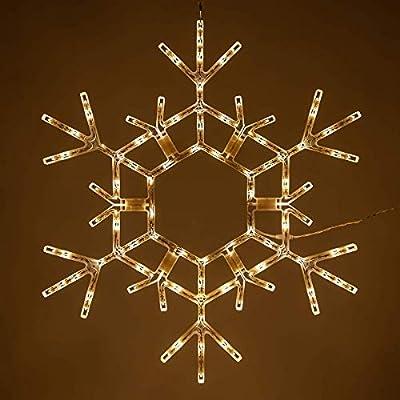"""Wintergreen Lighting 36"""" LED Warm White Folding Snowflake Decoration LED Snowflake Lights Large Snowflake Decorations Outdoor Lighted Snowflake"""