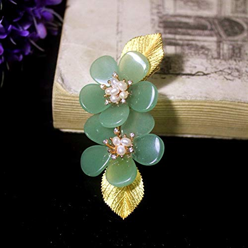 THTHT Brooch Pendant Dual-Use Shell Flower Women's Accessories Cyan Jade Flower Golden Leaves Handmade Corsage Vintage Exquisite High-End Jewelry Luxury