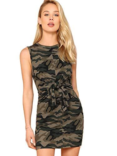 SheIn Women's Comfy Crewneck Tie Waist Knot Front Sleeveless Tank Pencil Dress Medium Camouflage ()