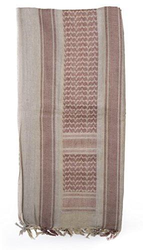 Mato & Hash Military Jumbo Shemagh Tactical Desert 100% Cotton Keffiyeh Scarf Wrap- Tan/Maroon