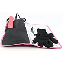 Heat-resistant /Heat Shield/Flattening Irons/ Curling Iron Cover/Flat Iron Travel Pouch/Hair Straighteners Case with Velcro /Heat-resistant Glove and Clip (Pink)