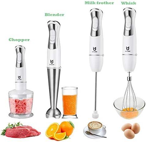 Immersion Hand Blender Utalent 5in1 8Speed Stick Blender with 500ml Food Grinder BPAFree 600ml