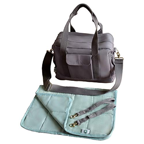 (Organic Canvas Diaper Bag with Stroller Straps & Changing Pad (Grey))