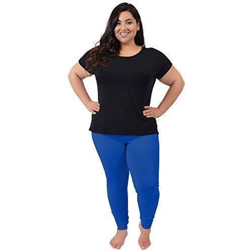 Algodón Elástico De Es Leggings Plus Comodidad Royal Tamaño Mujer Azul La nAPITwqAOZ