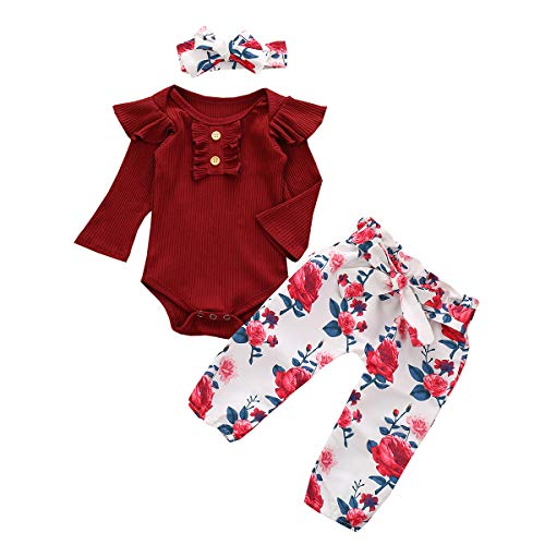 ruffle sleeve onesies baby girl 12-18 months ruffled rompers long sleeve winter fall clothes set outfits flower floral print bow headband red