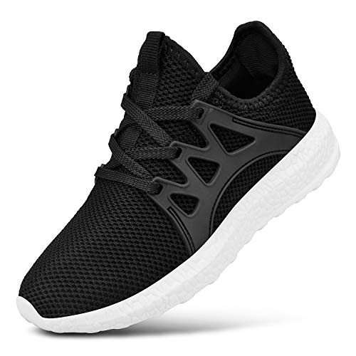 Feetmat Kids Sneakers Mesh Breathable Boys Tennis Shoes Lightweight Athletic Sports Running Shoes Black/White 2