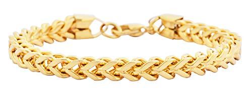 (Edforce Stainless Steel Men's 6mm Franco Chain Bracelet 8