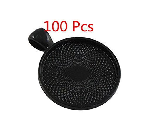 ASIBT 100 PCS Bezel Pendant Trays Round Cabochon Settings Trays Pendant Blanks, 25mm Diameter (Black)