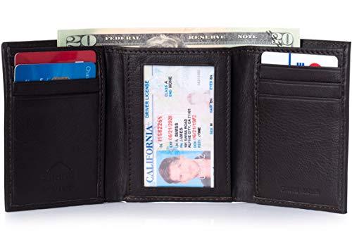 - Alpine Swiss Men's Genuine Leather Trifold Wallet Dark Brown