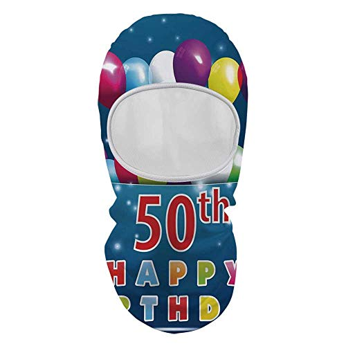 - YOLIYANA 50th Birthday Decorations Sunscreen Mask Face Gini,Joyful Mood Occasion Colorful Lettering Stars Balloons Ribbons for Outdoor,8.6