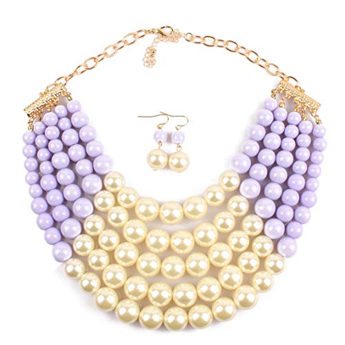 Thkmeet Women Fashion Jewelry Set Pearl Bead Cluster Collar Bib Choker Necklace and Earrings Suit (5 Layer-Purple) (Purple Pearl Cluster)