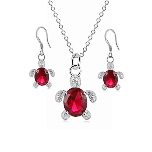 - Exquisite Rhinestone Tortoise Drop Earrings Pendant Necklace Set for Women Girls Party Wedding Jewelry (Red)