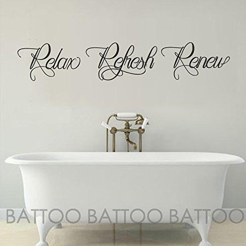 BATTOO Bathroom wall art - Bathroom Wall Decal - Relax Refresh Renew - spa wall decal - bath wall decal - bathroom decor - bathroom wall sticker(Black, 22